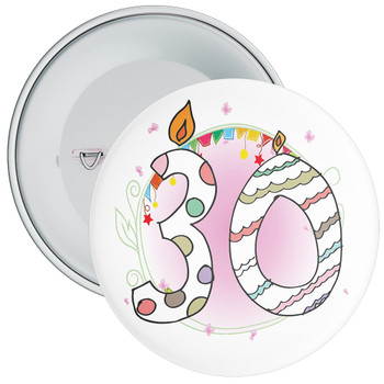 30th Birthday Badge with Candles and Pink Background