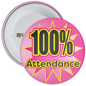 School 100% Attendance Badge with Pink Star Background