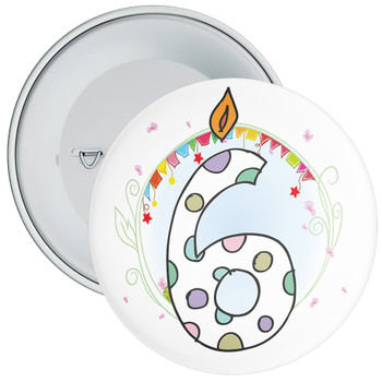 6th Birthday Badge with Candles and Blue Background