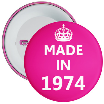 Pink Made in 1974 Birthday Badge