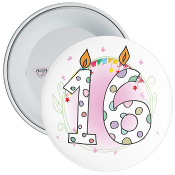 16th Birthday Badge with Candles and Pink Background