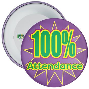 School 100% Attendance Badge with Purple Star Background