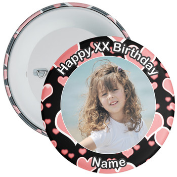 Heart Styled Customisable Birthday Photo Badge 3