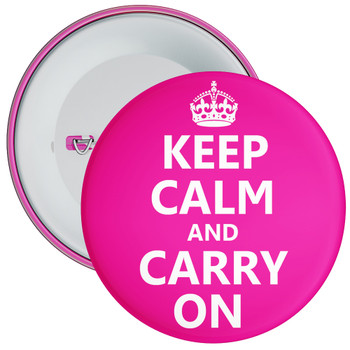 Pink Keep Calm and Carry On Badge