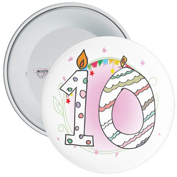 10th Birthday Badge with Candles and Pink Background