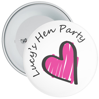 Customisable Heart Hen Party Badge