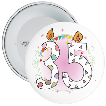 35th Birthday Badge with Candles and Pink Background