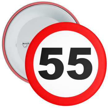 Speed Sign Themed 55th Birthday Badge