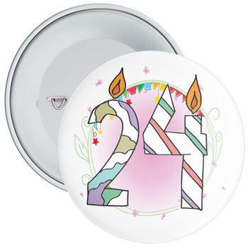 24th Birthday Badge with Candles and Pink Background