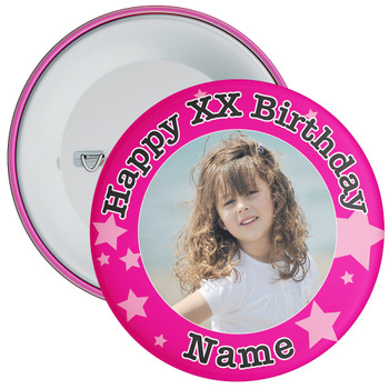 Pink Stars Customisable Birthday Photo Badge