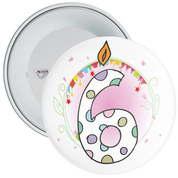 6th Birthday Badge with Candles and Pink Background