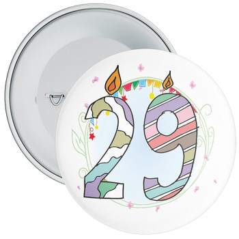 29th Birthday Badge with Candles and Blue Background
