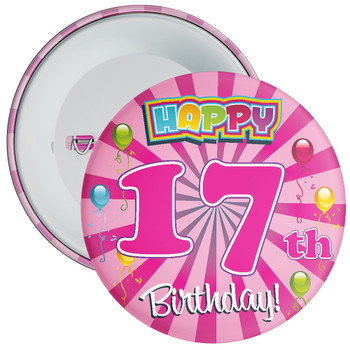 Pink 17th Birthday Badge