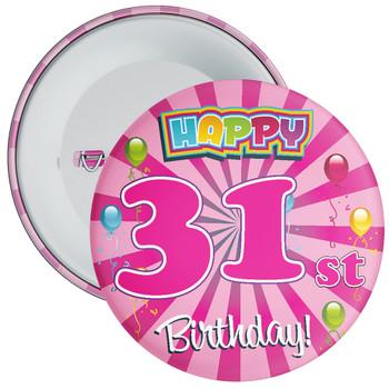 Pink 31st Birthday Badge