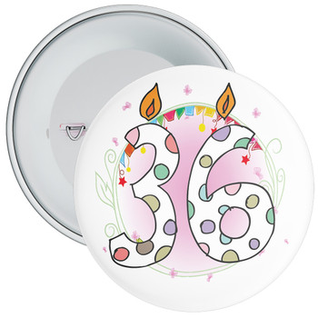 36th Birthday Badge with Candles and Pink Background