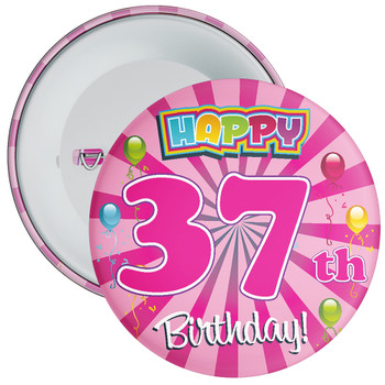 Pink 37th Birthday Badge
