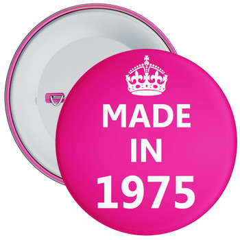 Pink Made in 1975 Birthday Badge