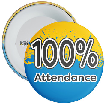 School 100% Attendance Badge with Yellow/Blue Background
