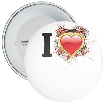 White Custom I Love Badge 7