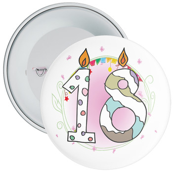 18th Birthday Badge with Candles and Pink Background