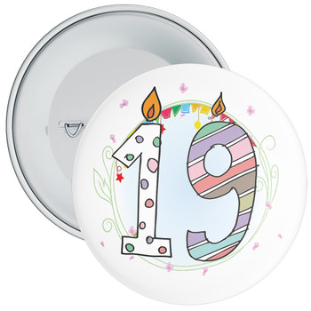 19th Birthday Badge with Candles and Blue Background