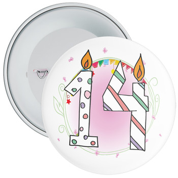 14th Birthday Badge with Candles and Pink Background