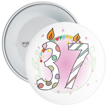 37th Birthday Badge with Candles and Pink Background