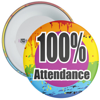 School 100% Attendance Badge with Colourful Background 3