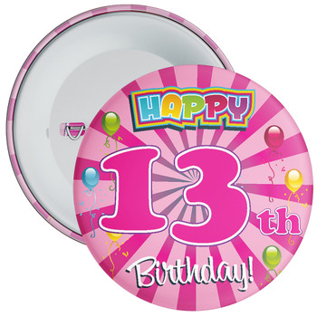 Pink 13th Birthday Badge