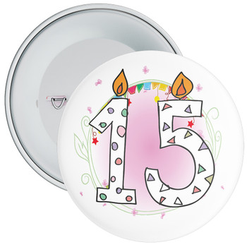 15th Birthday Badge with Candles and Pink Background