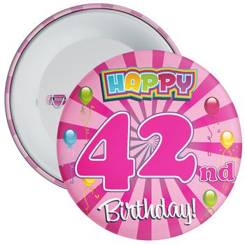 Pink 42nd Birthday Badge