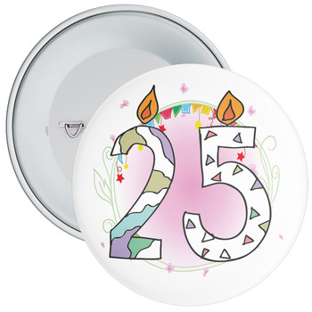 25th Birthday Badge with Candles and Pink Background
