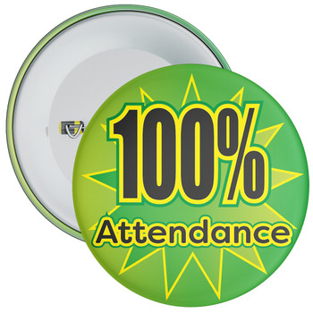 School 100% Attendance Badge with Green Star Background