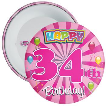 Pink 34th Birthday Badge