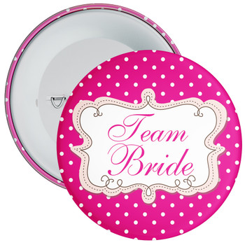 Pink Polka Dot Style Team Bride Hen Badge