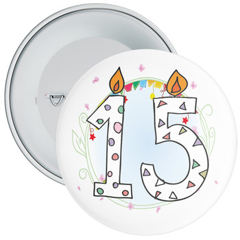 15th Birthday Badge with Candles and Blue Background