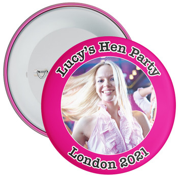 Customisable Pink Hen Party Photo Badge 1