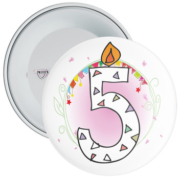 5th Birthday Badge with Candles and Pink Background