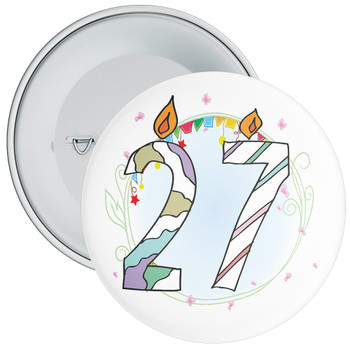 27th Birthday Badge with Candles and Blue Background