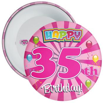 Pink 35th Birthday Badge
