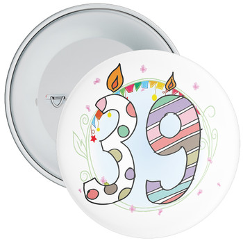 39th Birthday Badge with Candles and Blue Background
