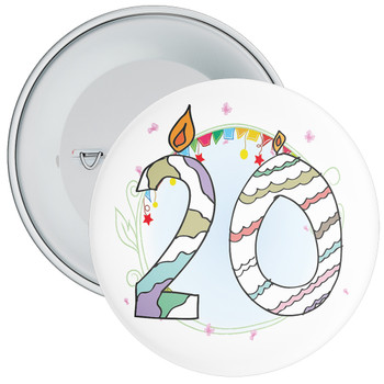 20th Birthday Badge with Candles and Blue Background