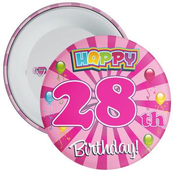 Pink 28th Birthday Badge