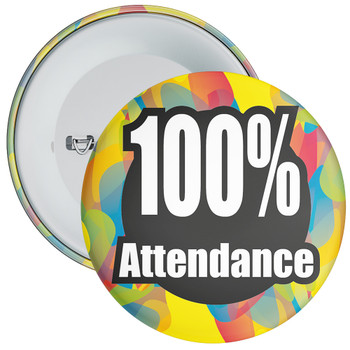 School 100% Attendance Badge with Colourful Background 1