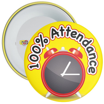 School 100% Attendance Badge with Yellow Background