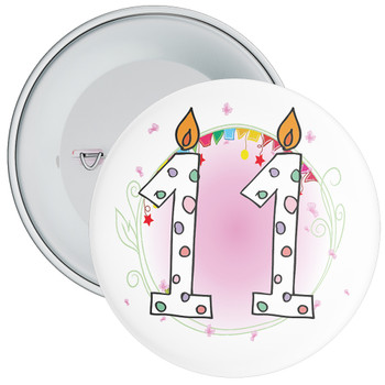 11th Birthday Badge with Candles and Pink Background