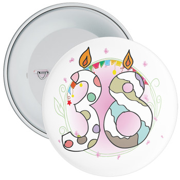 38th Birthday Badge with Candles and Pink Background
