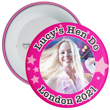 Customisable Pink Stars Hen Party Photo Badge