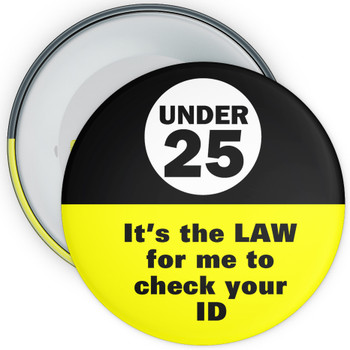 Pack of Challenge 25 It/'s The Law Badges Various Pack Sizes 59mm Badges