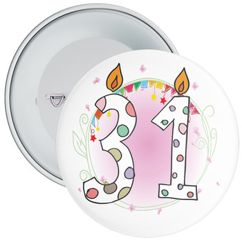 31st Birthday Badge with Candles and Pink Background